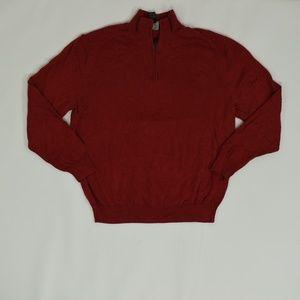 Jos. A Bank Regular L Red   1/4 Zip Sweater Cotton